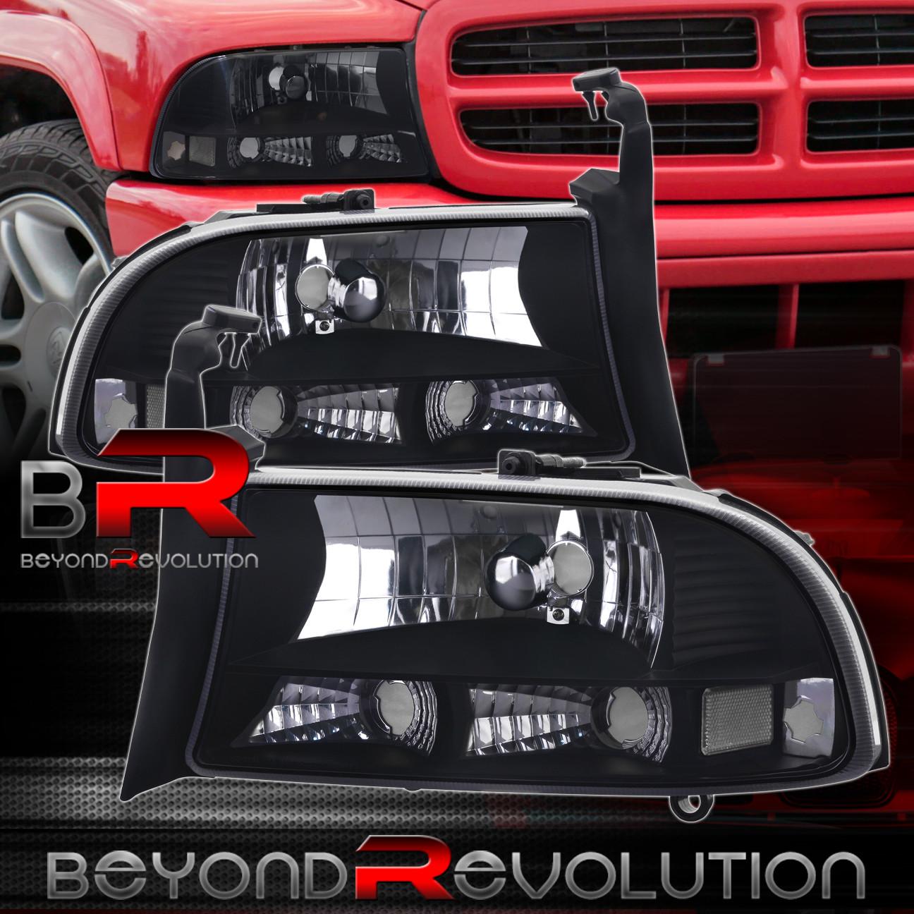97 04 dodge dakota 98 03 dodge durango front bumper headlight 1 piece pair black. Black Bedroom Furniture Sets. Home Design Ideas