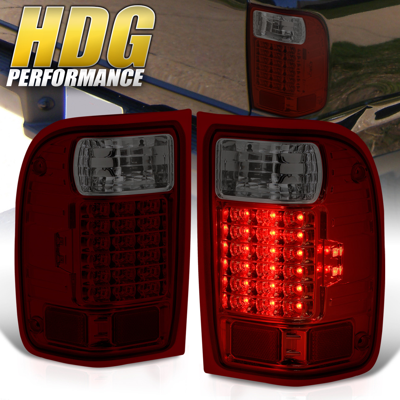 2011 Ford Ranger For Sale >> 2001-2011 Ford Ranger Replacement Red Smoke Lens LED Tail Lights Pair Lamps | eBay