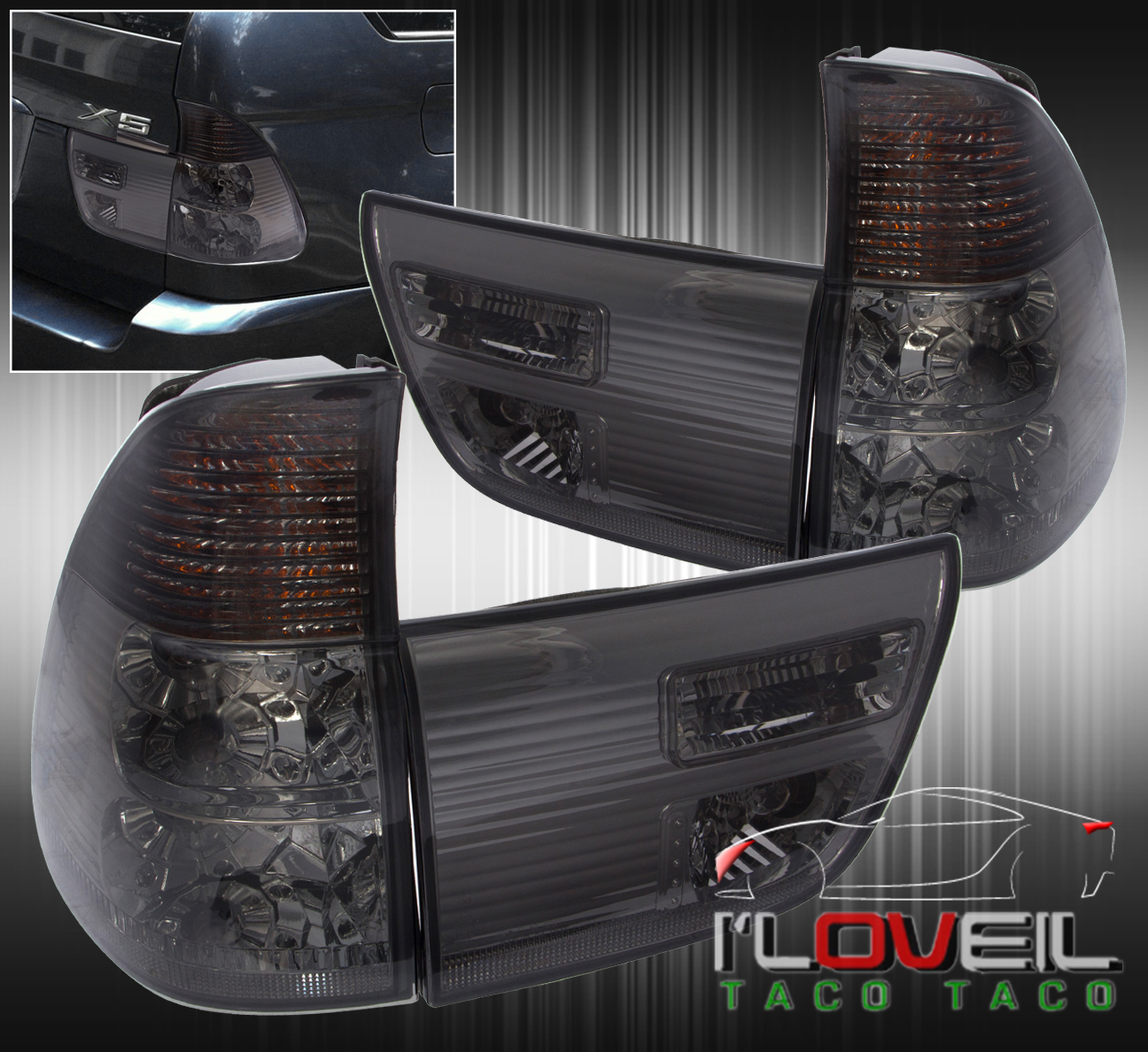 bmw x5 e53 2000 2006 4pc euro brake tail lights signal. Black Bedroom Furniture Sets. Home Design Ideas