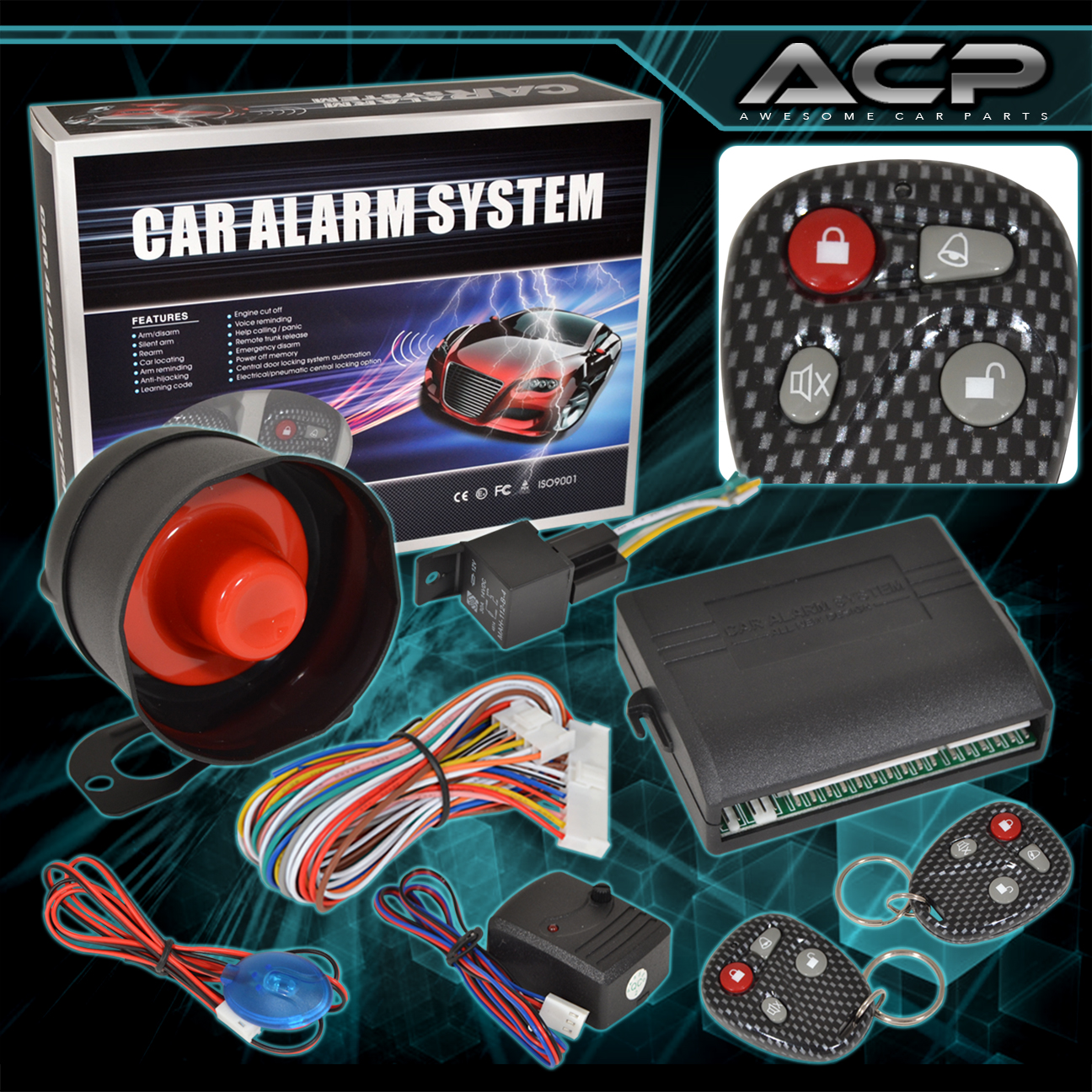 car alarm protection security system entry siren carbon 2