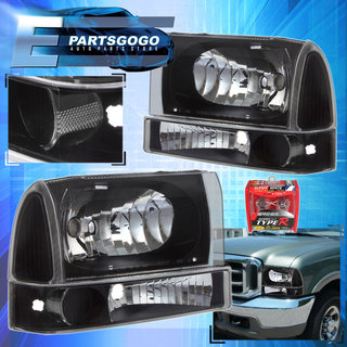 99 F350 Headlights >> For 99 04 Ford F250 F350 Super Duty 2 Pcs Black Housing Clear Headlights Xenon