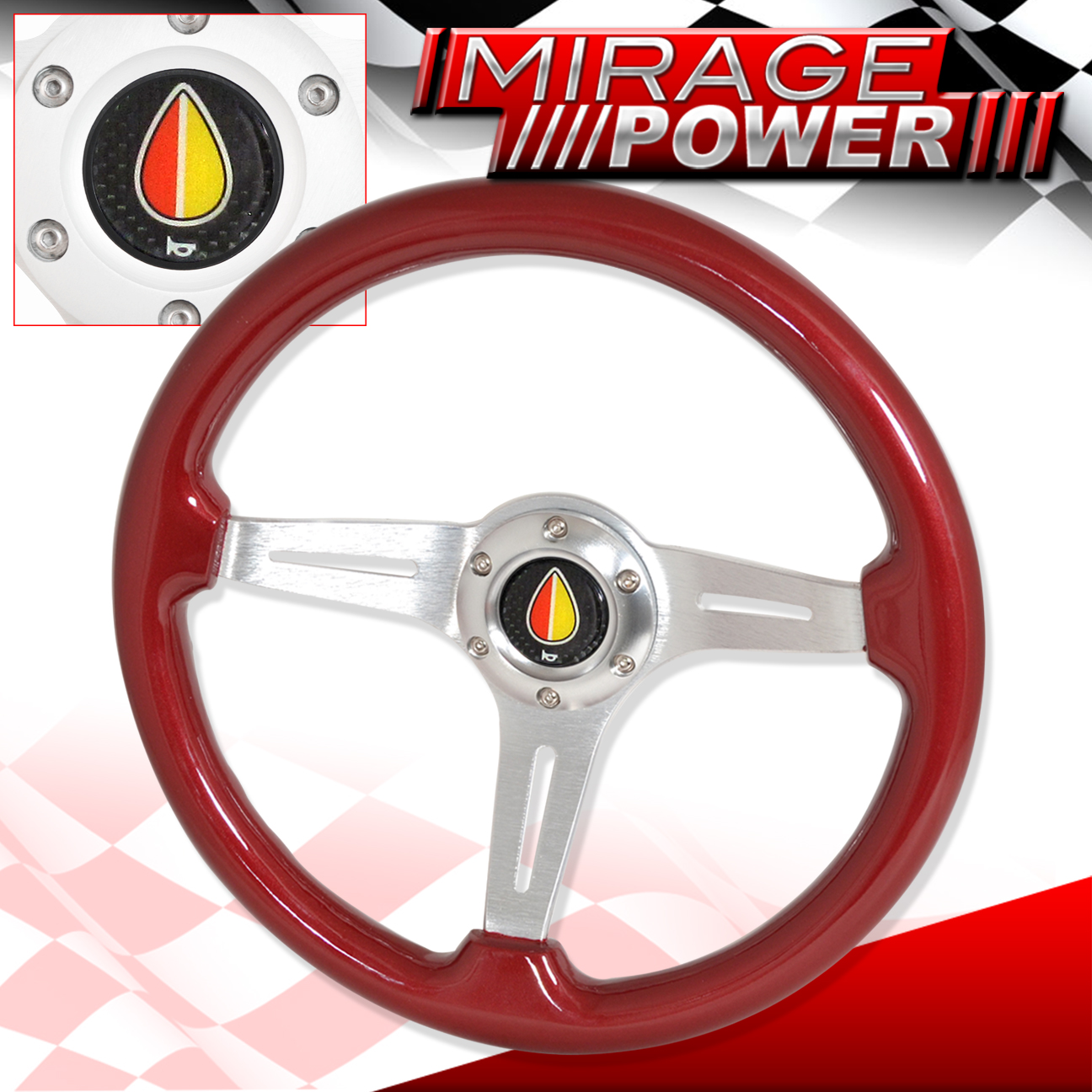For bmw mercedes benz red wood grain streak aluminum for Mercedes benz wood steering wheel