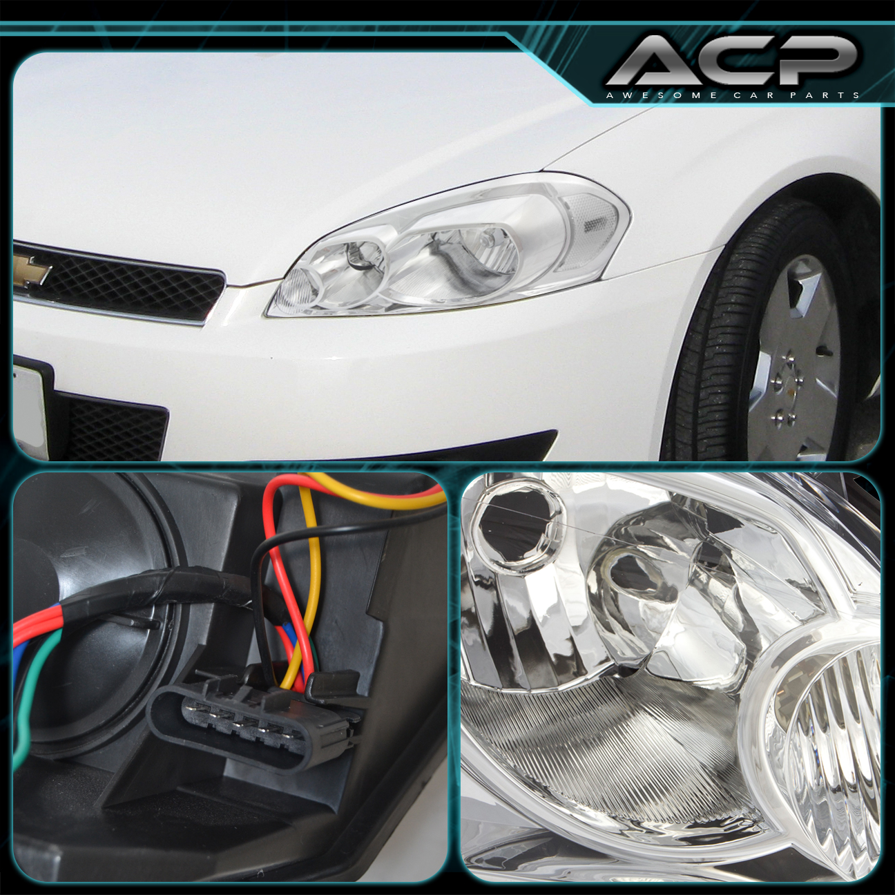 2006 2007 chevy monte carlo replacement headlights chrome. Black Bedroom Furniture Sets. Home Design Ideas