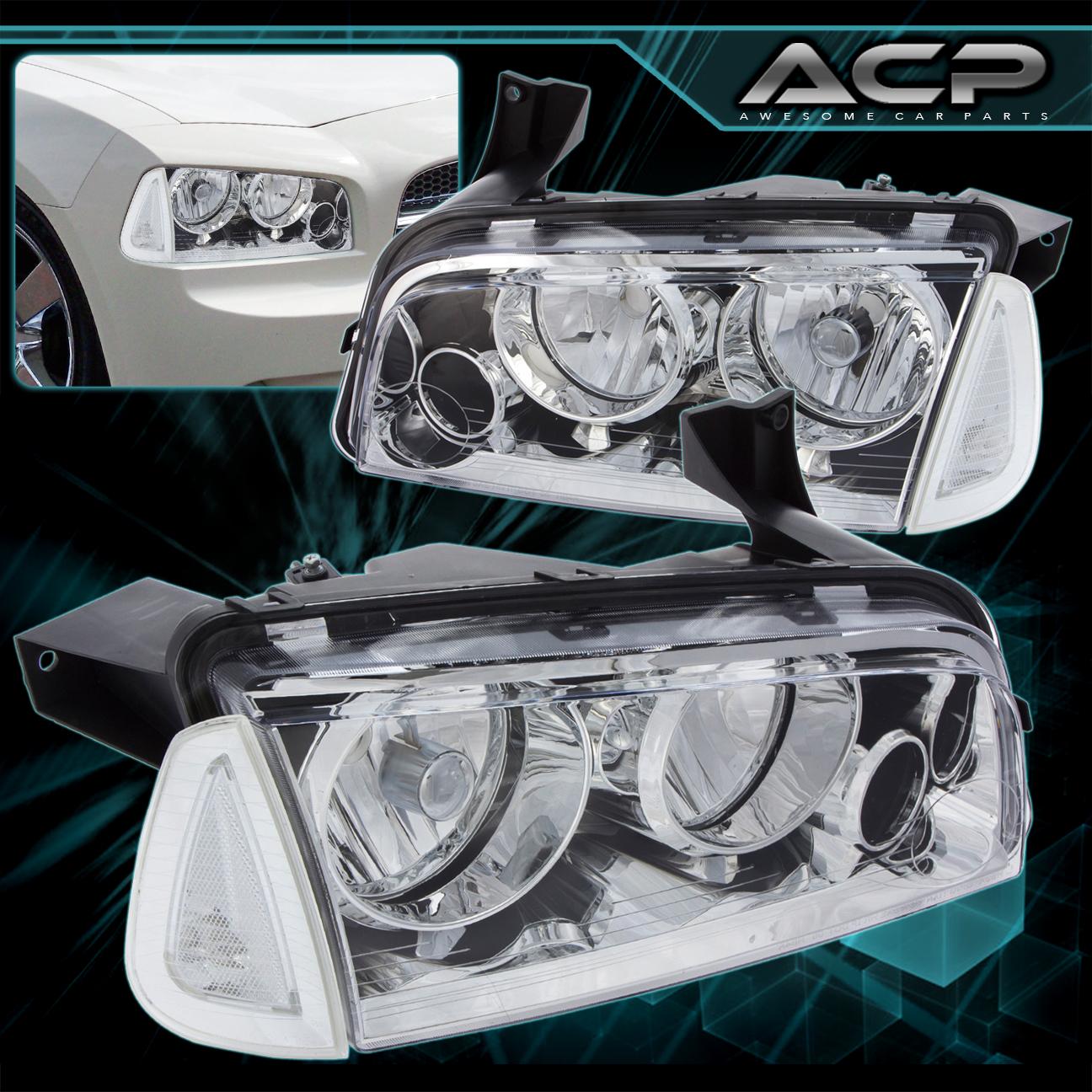 2006 2010 dodge charger r t srt 8 chrome headlight clear. Black Bedroom Furniture Sets. Home Design Ideas