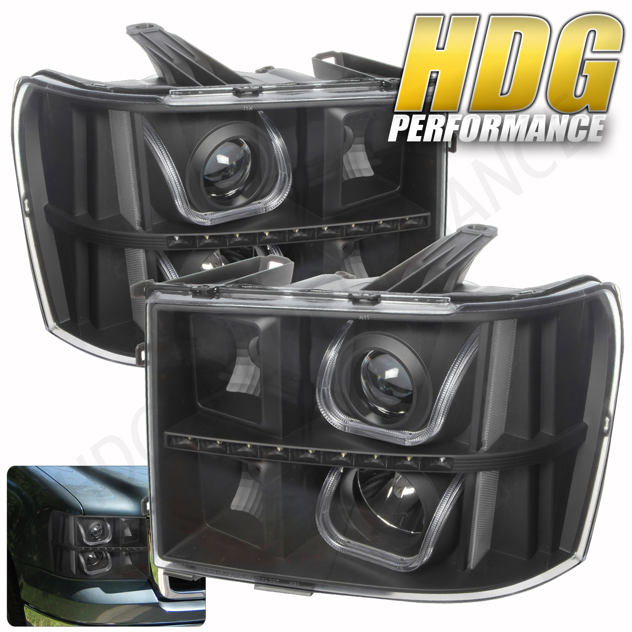 black housing projector u bar halo led clear lens headlight 07 13 sierra gmc ebay. Black Bedroom Furniture Sets. Home Design Ideas