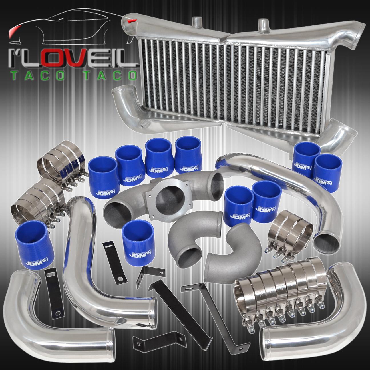 300zx Twin Turbo Dual Intake: Twin Turbo Intercooler + Polish Piping Kit Blue Couplers