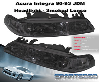 90 91 92 93 Acura Integra Da Smoke Lens Jdm 1 Piece Headlights Ls