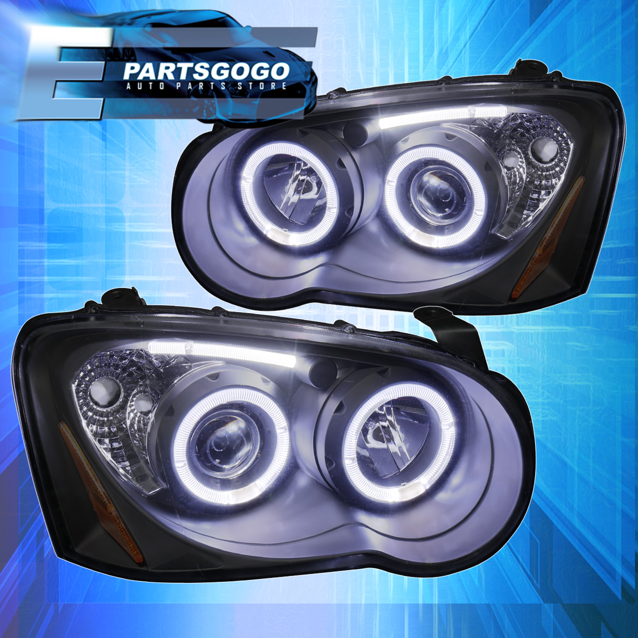 Black Housing Dual Halo Projector Led Strip Headlight For