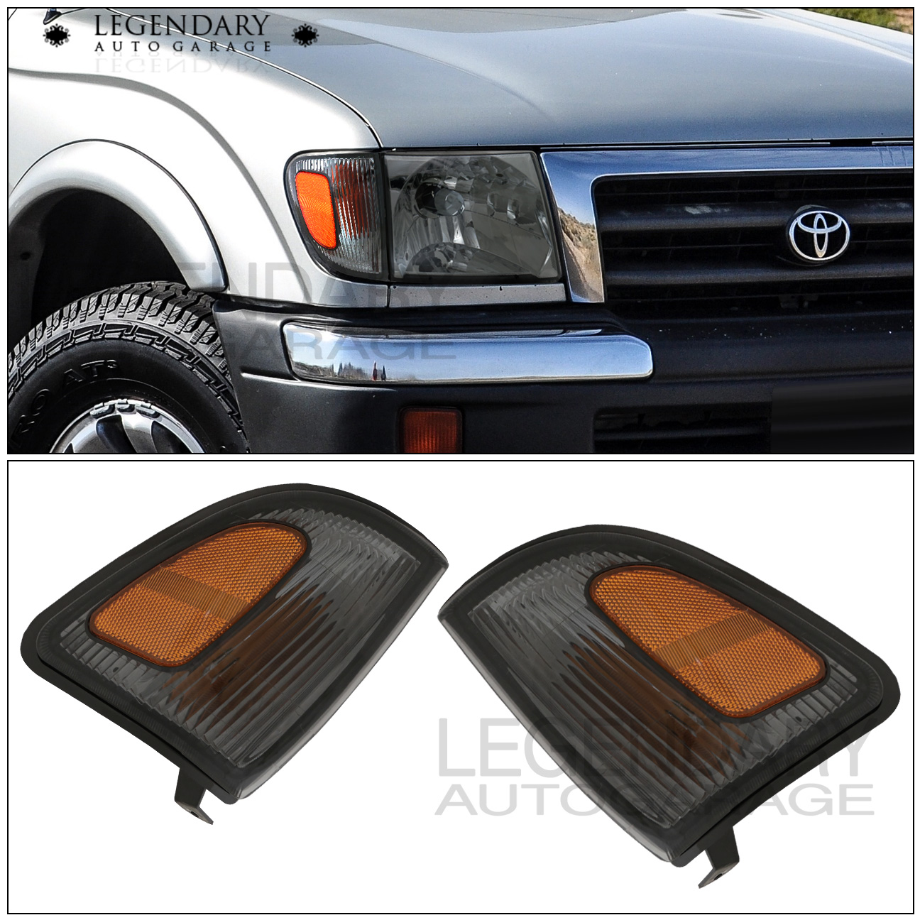 Parking Garage Light Signals: For 1998-2000 Toyota Tacoma 4WD Smoked Lenses Amber Signal