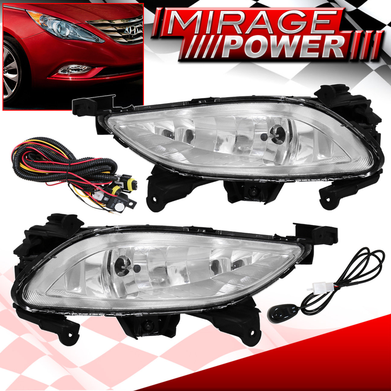 chrome clear driving front fog light lamp drl for 2011