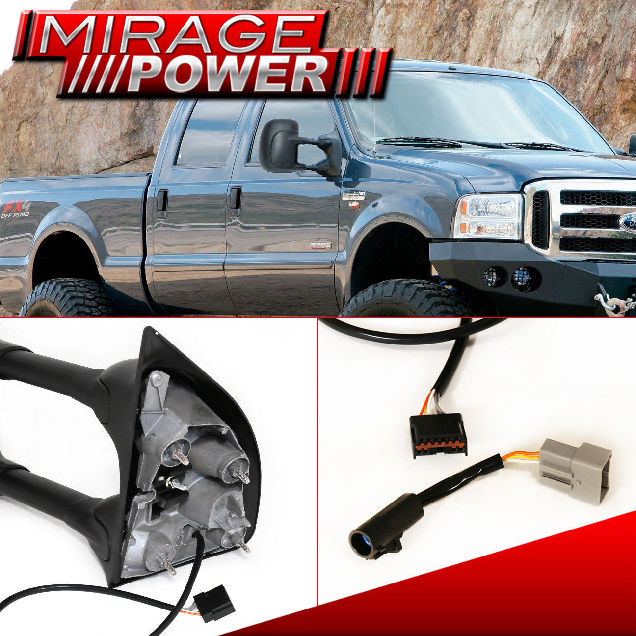 Ford F 450 Towing: Towing Side Mirrors Power Pair 99-07 Ford F250/F350/F450