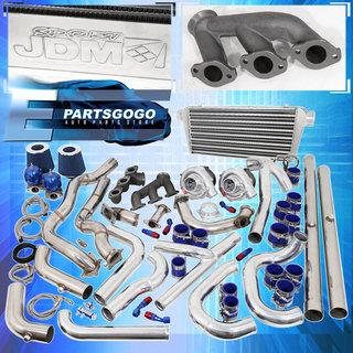 94-97 Mustang V6 3 8L Turbo Kit Blue Set Intercooler Downpipe Piping  Wastegate