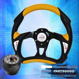 Hub Adapter JDM Horn 320MM Battle Type Black PVC Leather Racing Steering Wheel
