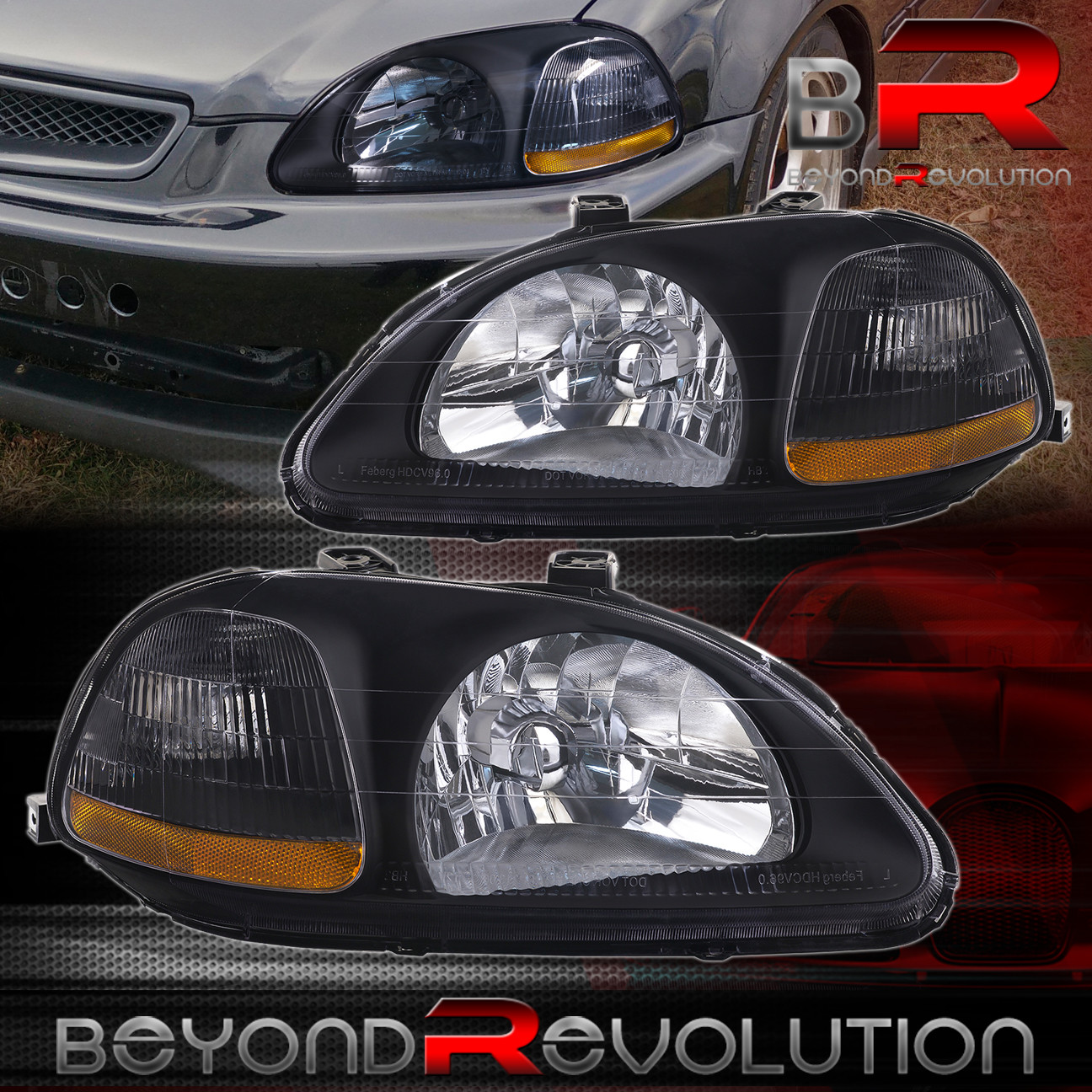 1996-1998 HONDA CIVIC EX LX DX SI JDM BLACK HOUSING AMBER HEADLIGHTS EK EK6 EK9 | eBay