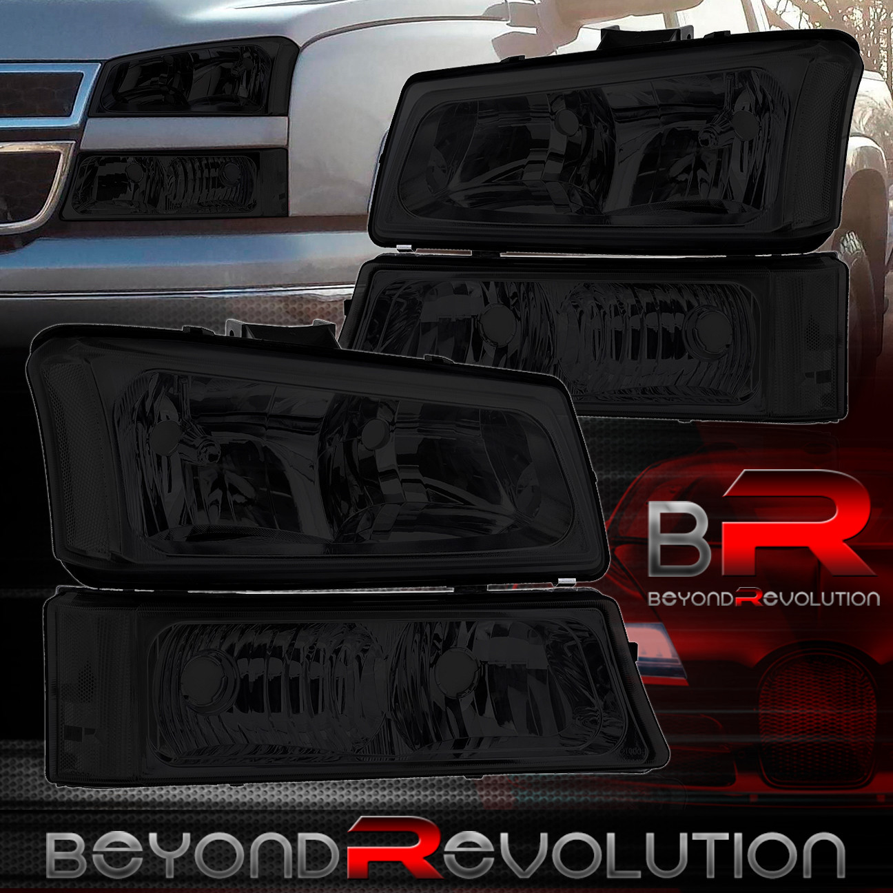 2003 2006 chevy silverado avalanche smoked headlights bumper lamps set ebay. Black Bedroom Furniture Sets. Home Design Ideas