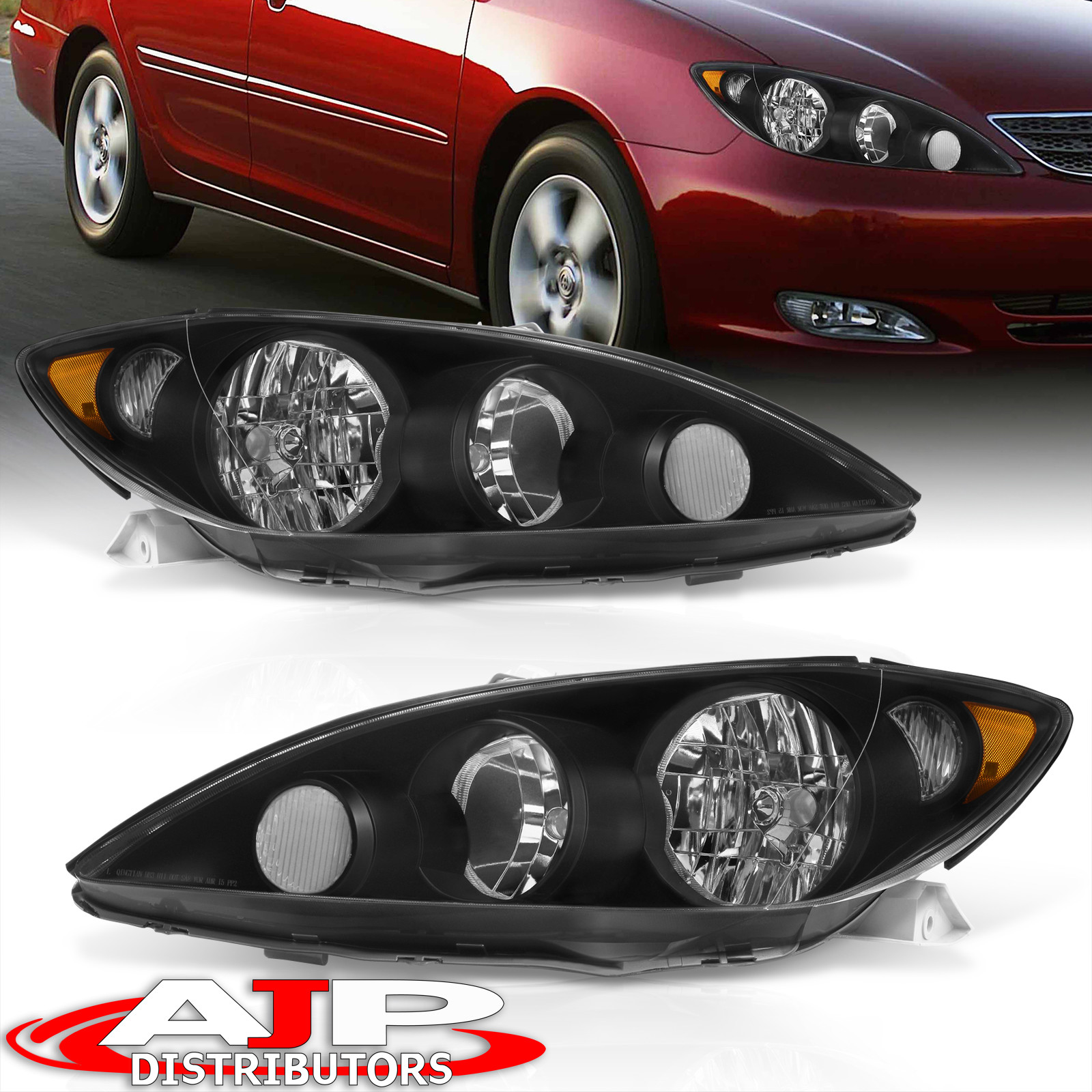2005 2006 toyota camry black housing replacement headlights le xle pair. Black Bedroom Furniture Sets. Home Design Ideas