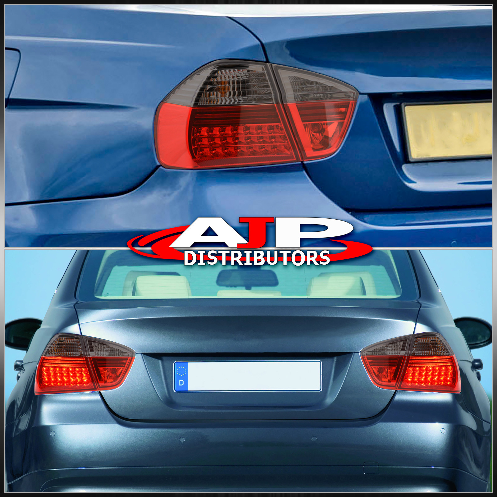 05 06 07 Bmw 3 Series Sedan E90 Led Tail Lights Blk Red