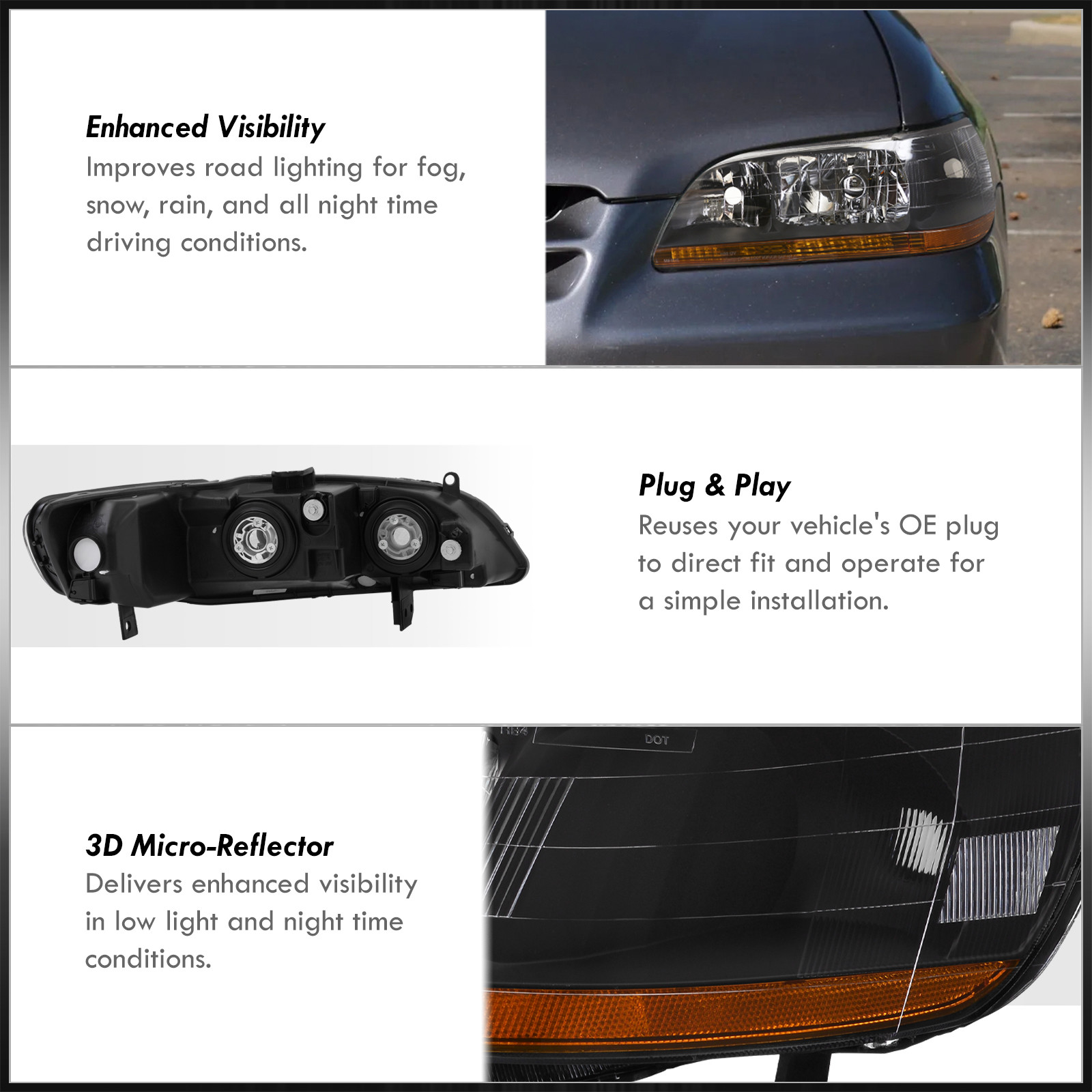 accord dx lx   jdm black headlights  amber reflectors leftright