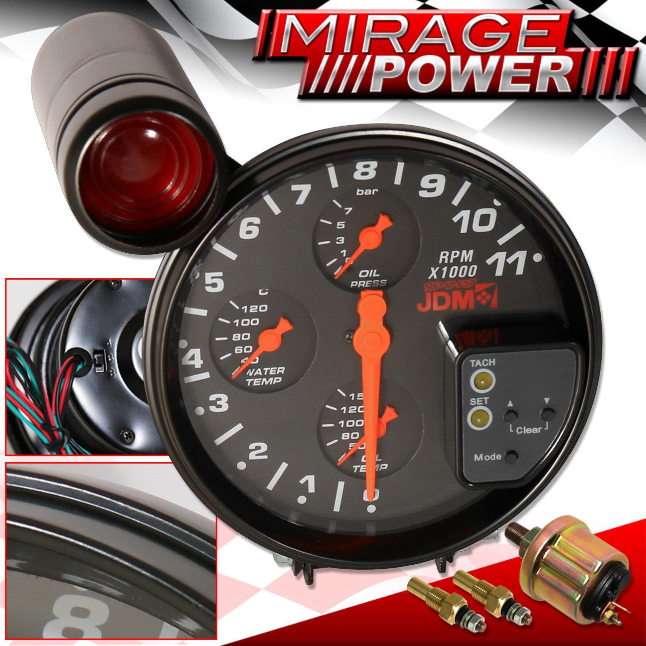 """5"""" 4IN1 11K RPM JDM BLACK TACHOMETER GAUGE + RED SHIFT"""