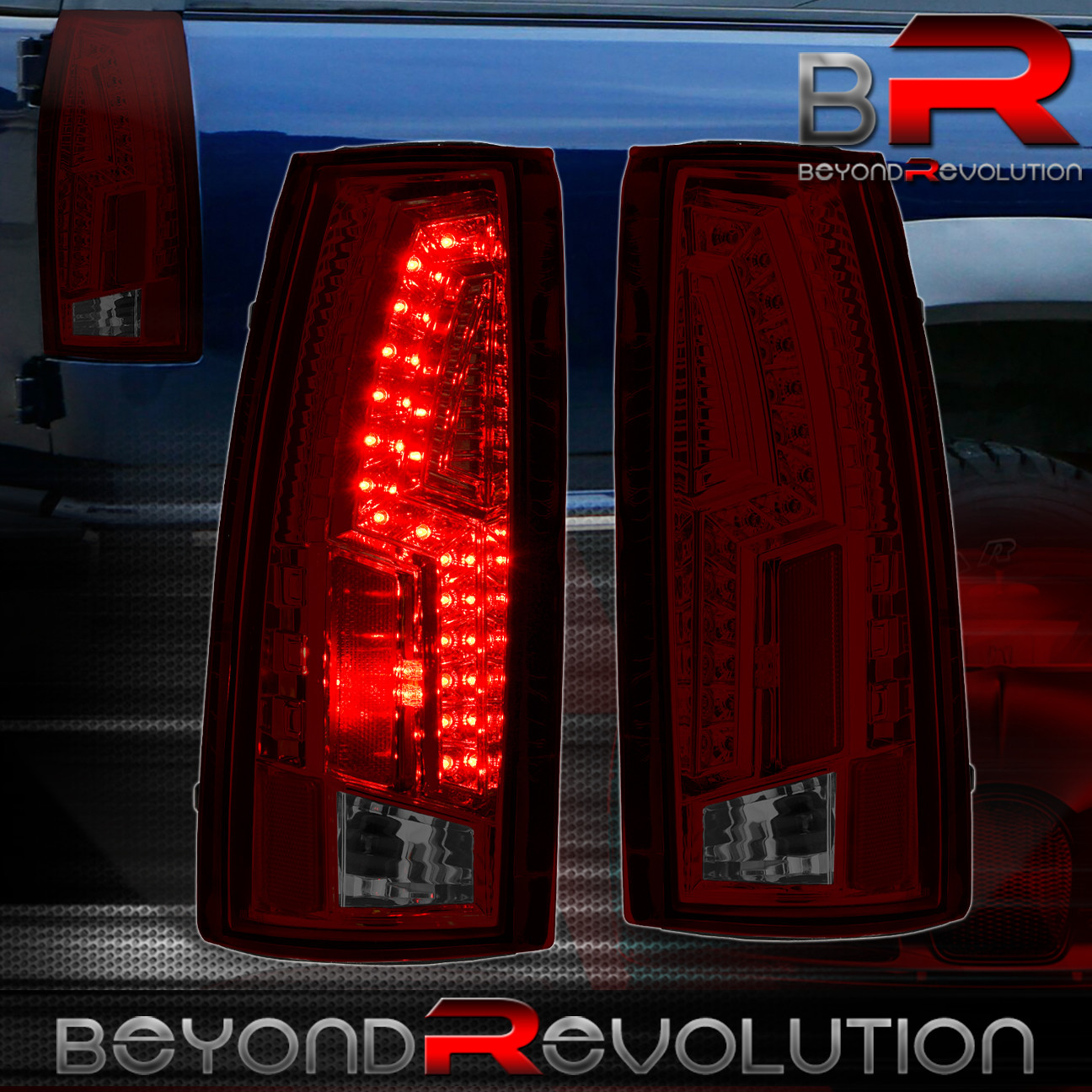 1988 1998 gmc chevy c k c1500 2500 3500 smoke red led tail. Black Bedroom Furniture Sets. Home Design Ideas