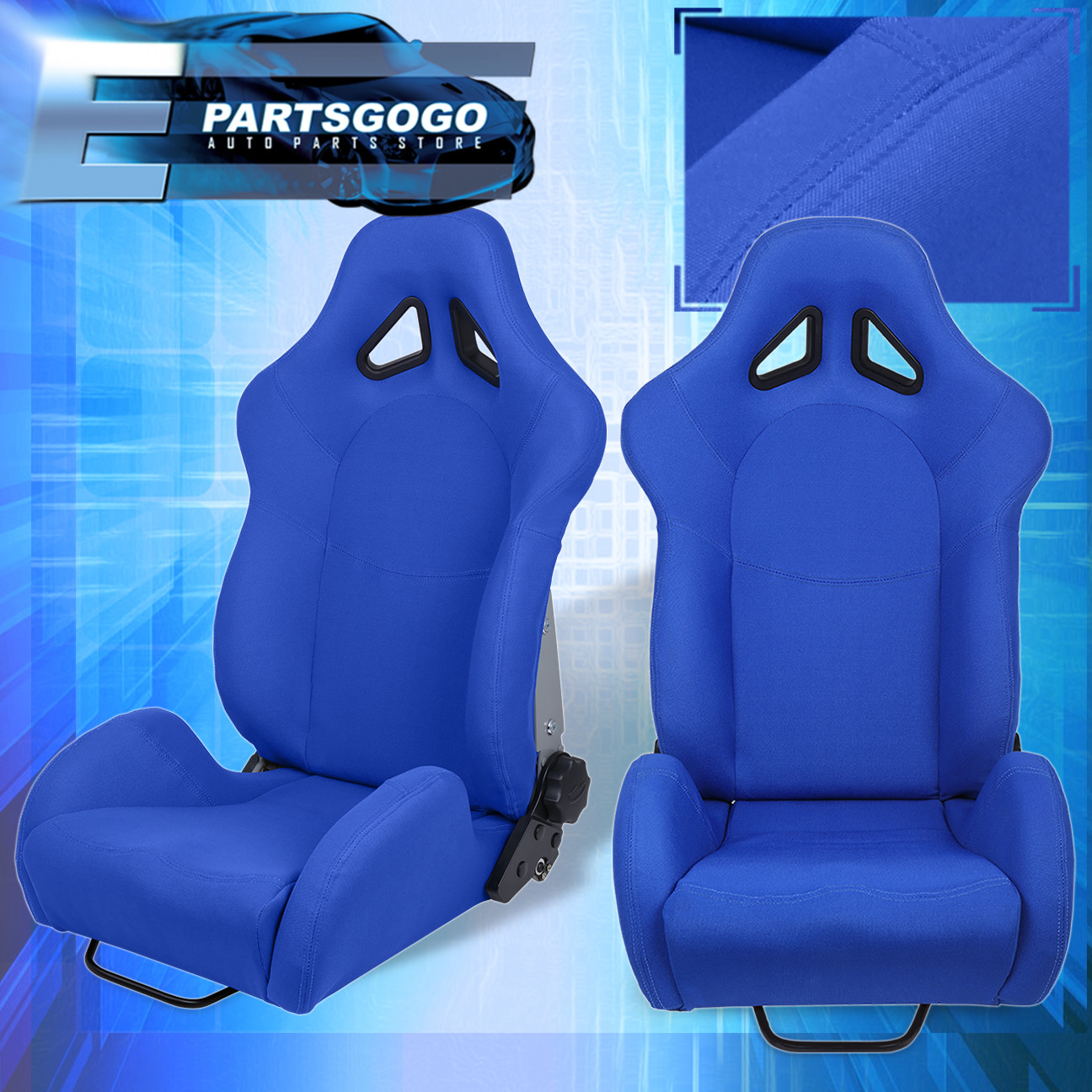 for kia benz reclinable car automotive racing bucket seat blue rail sliders ebay. Black Bedroom Furniture Sets. Home Design Ideas