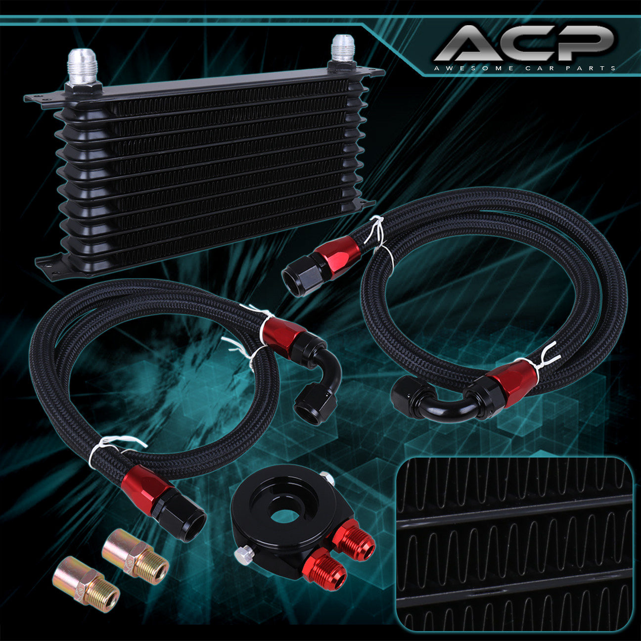 Engine Oil Cooler Works : Engine diff trans aluminum alloy oil cooler kit filter