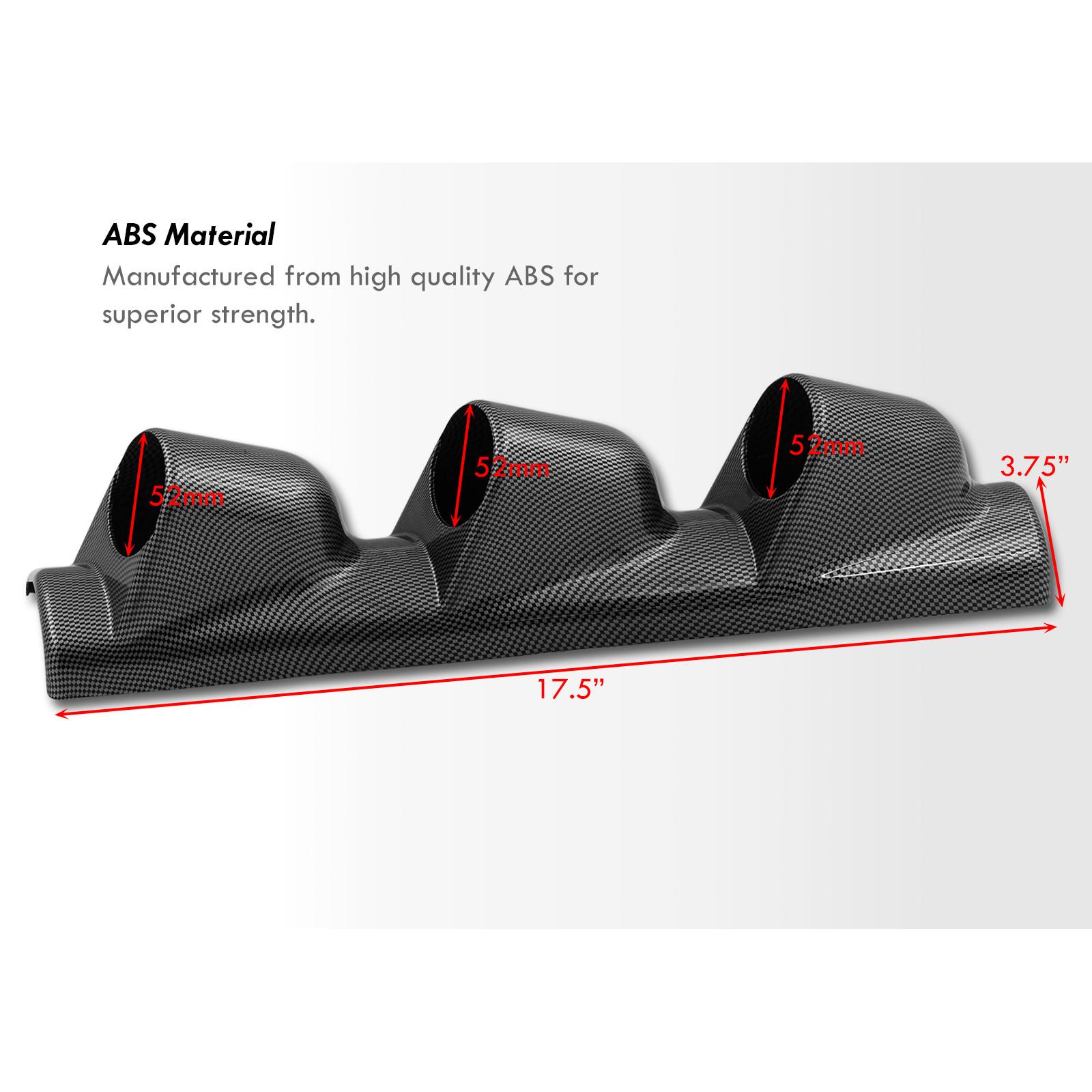 Triple 3 Hole A-Pillar Carbon Look Gauge Meter Pod Drift Display Holder 52mm