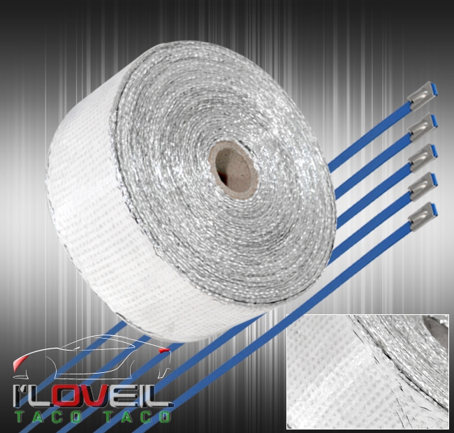"360/"" 30Ft Catalytic Converter Muffler Header Heat Wrap Shield Cover Roll Silver"