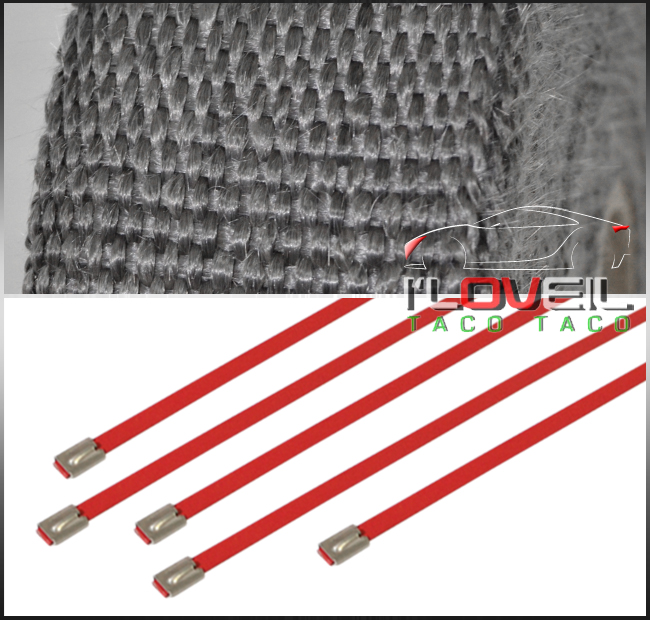 Blue AJP Distributors Exhaust Header Turbo Manifold Downpipe Down Pipe Piping Insulating Heat Wrap Roll Stainless Steel Zip Ties