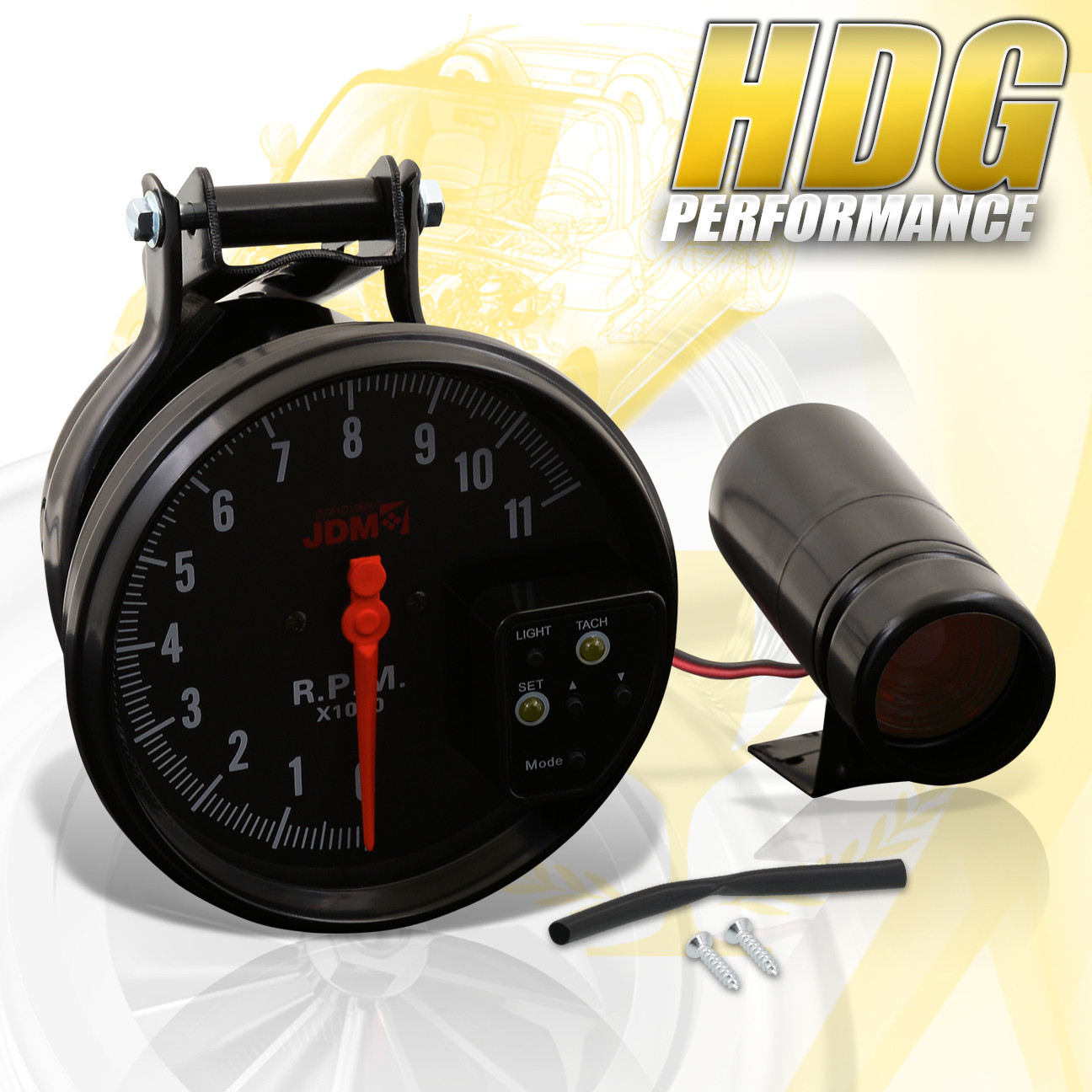 "Universal Jdm Racing Led 7 Color 5/"" Tachometer Glow Gauge W// Shift Light Black"