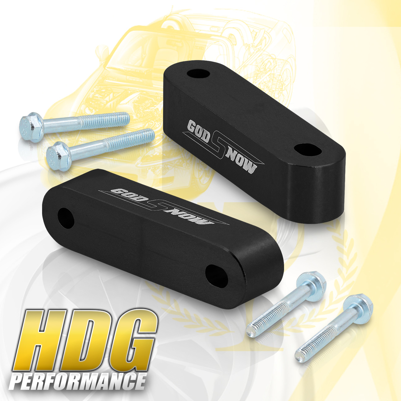 Black Hood Vent Spacer Risers Kit For 88-00 Honda Civic