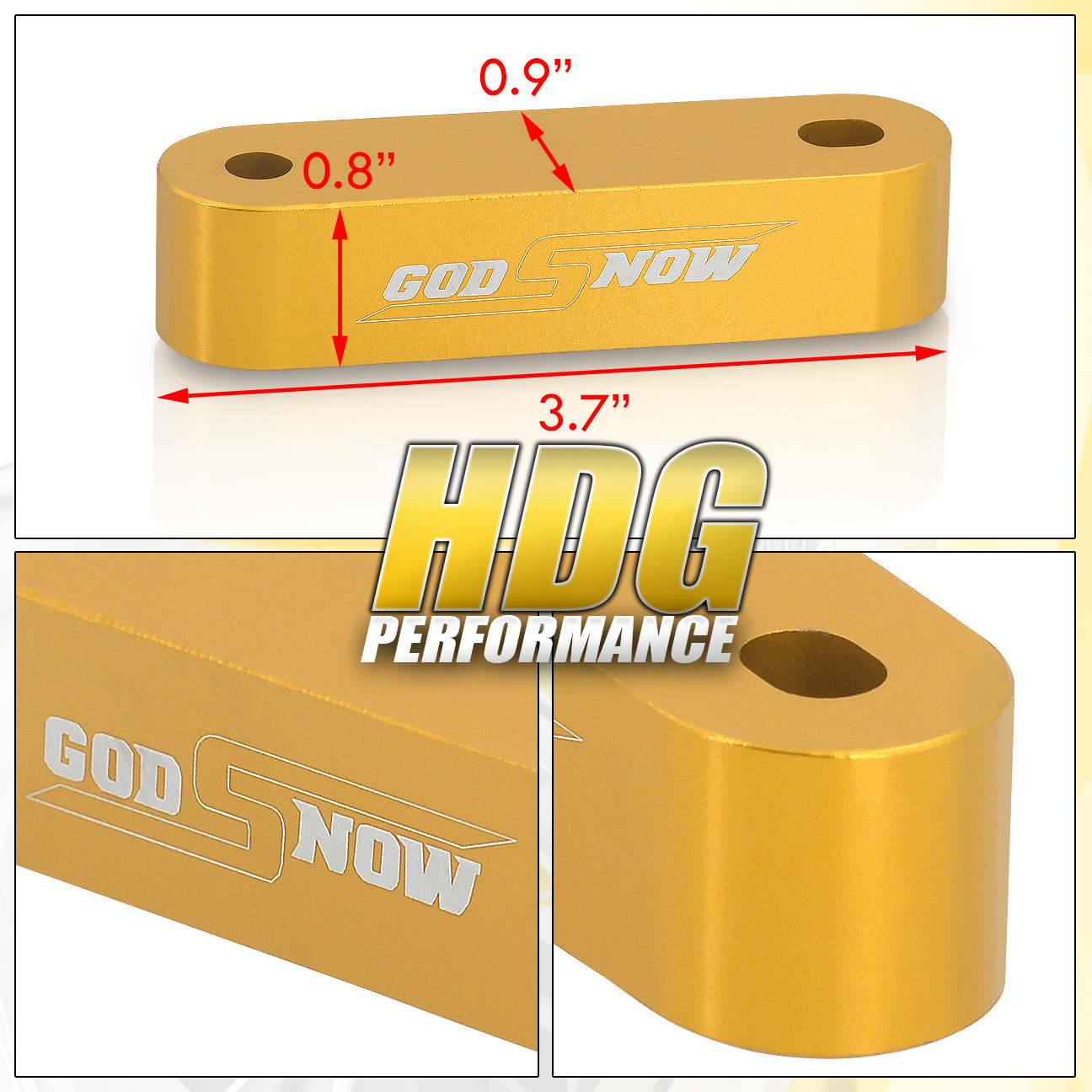 Gold Hood Vent Spacer Risers Kit For 90-01 Acura Integra