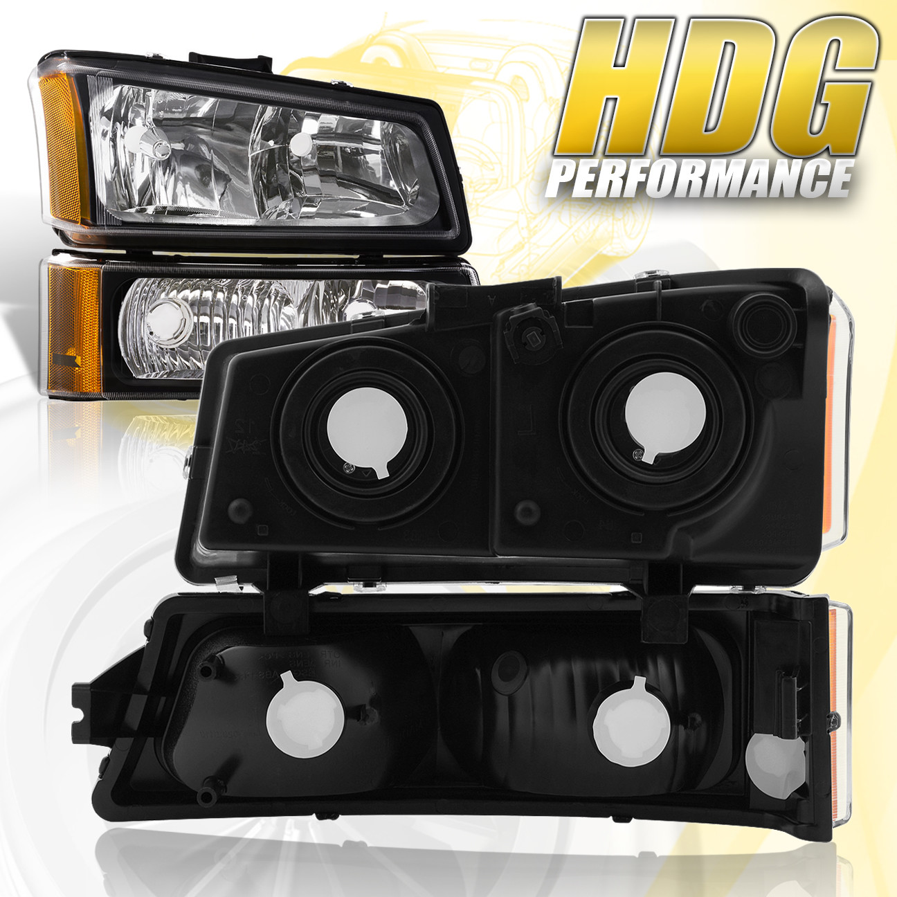 03 06 Chevy Silverado 1500 2500 Black Housing Amber Headlights Per Lamps Ebay