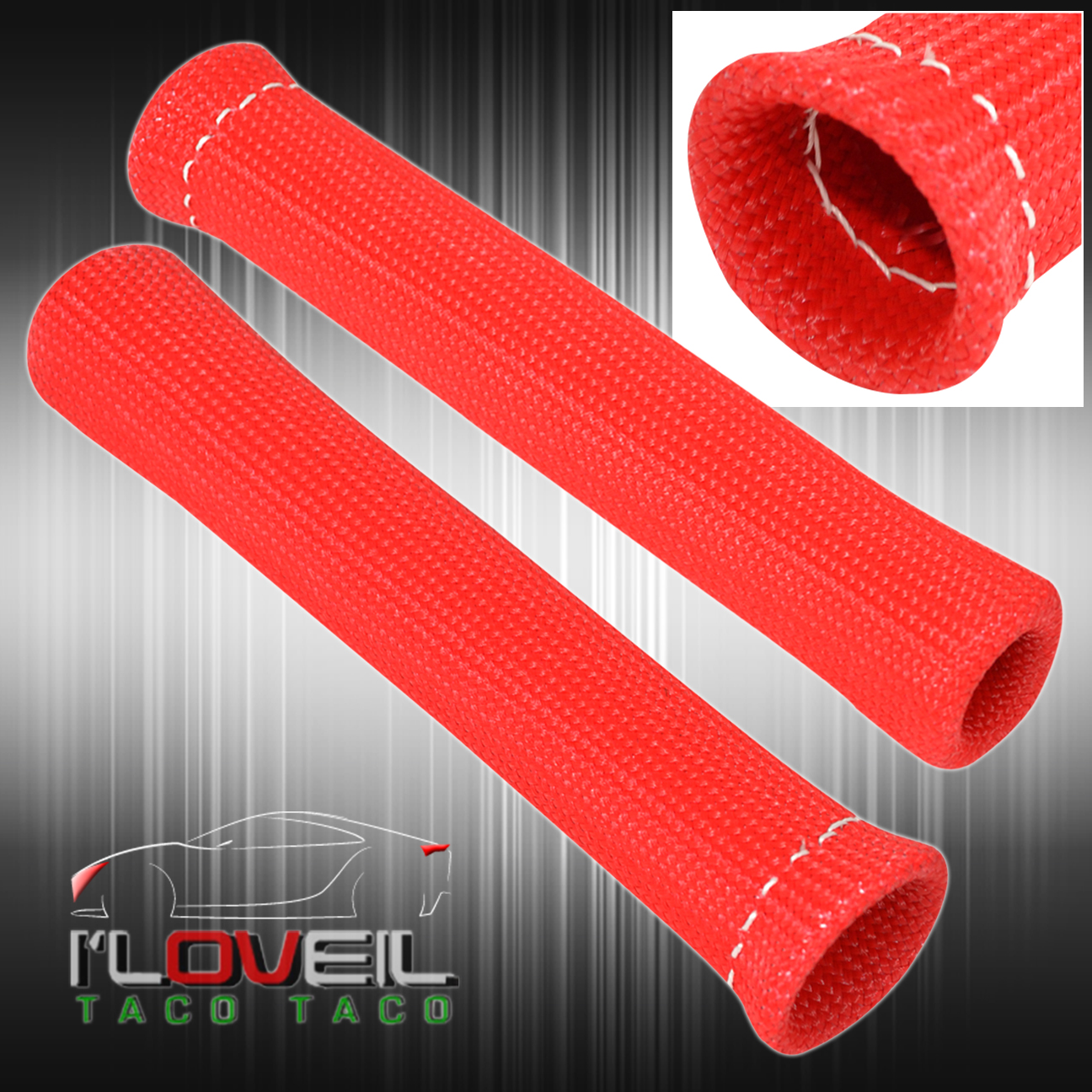 For Audi 1200° Thermal Spark Plug Wire Heat Shield Sleeve V6 V8 Boot Kit Red