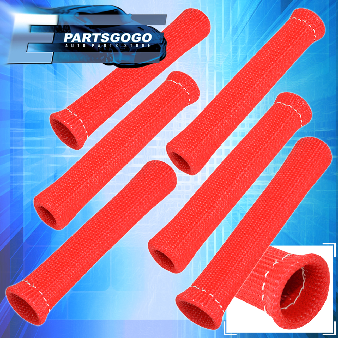 For Bmw 6 Piece 1200 Degree Protector Spark Plug Wire Insulation Thermo Red