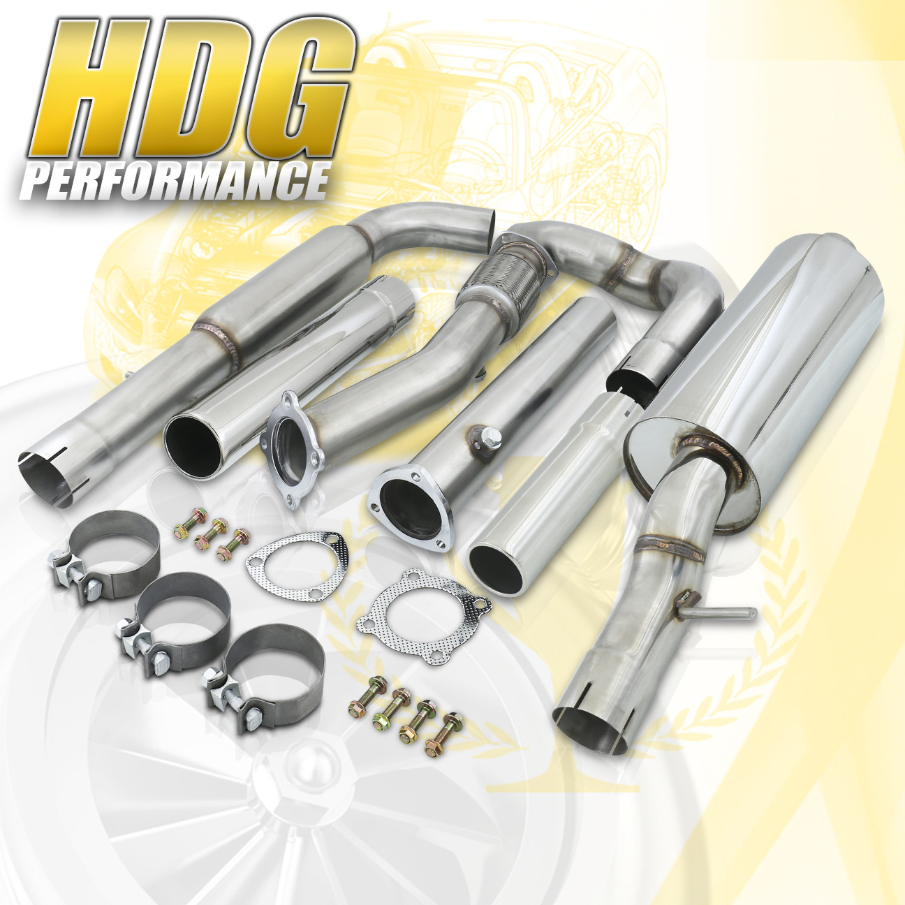 "Details about Vw Golf Gti Jetta Mk4 99 04 1 8L 3"" Turbo Back Exhaust Catback 1 8T W Downpipe"
