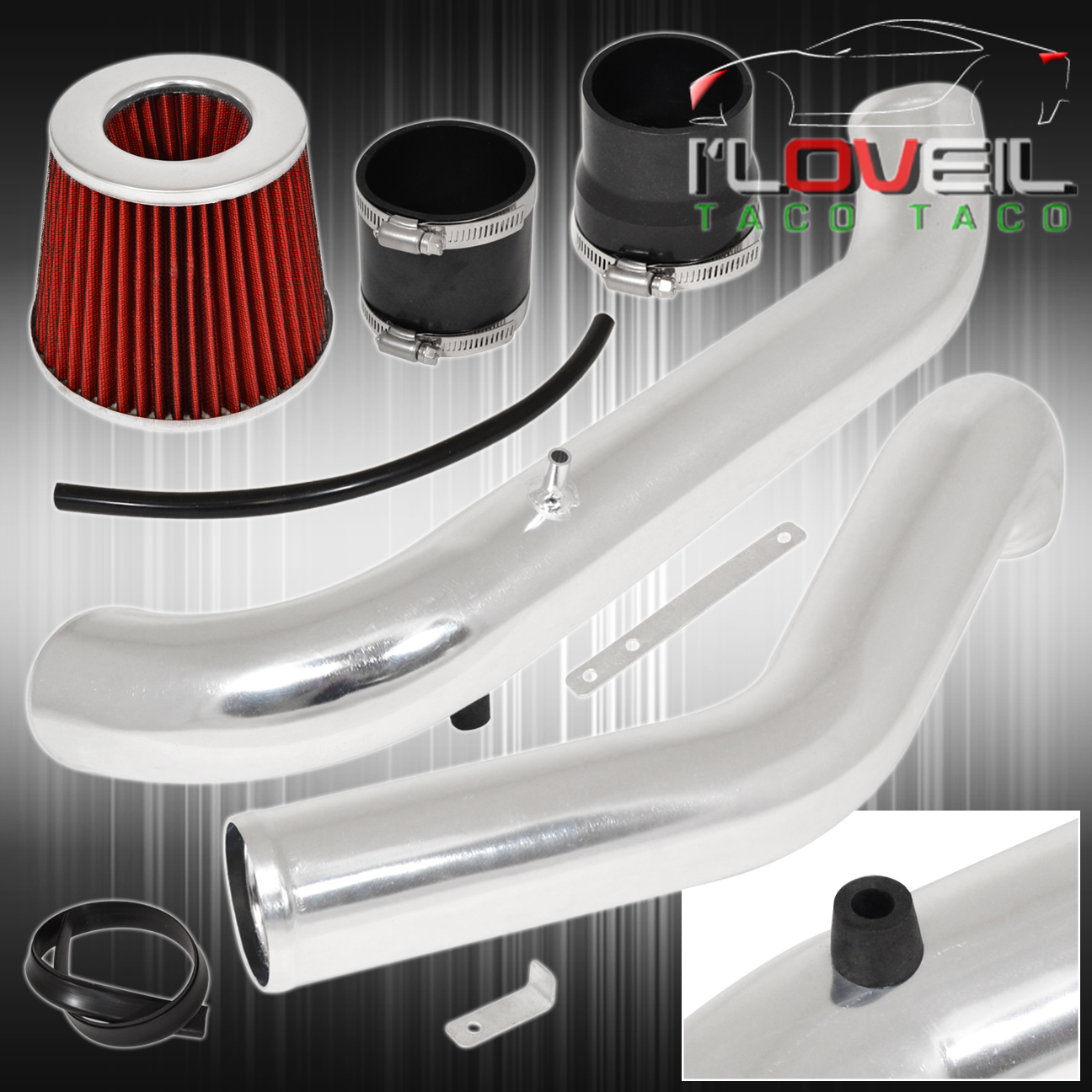 "1996-2000 Honda Civic DX LX Chrome Cold Air Intake System Kit w//2.75/"" Air Filter"