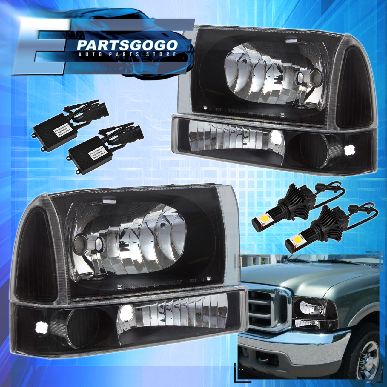99 04 Ford F250 F350 Super Duty 2 Pcs Black Housing Clear Headlights 2004 F 250 Led Lighting Cree