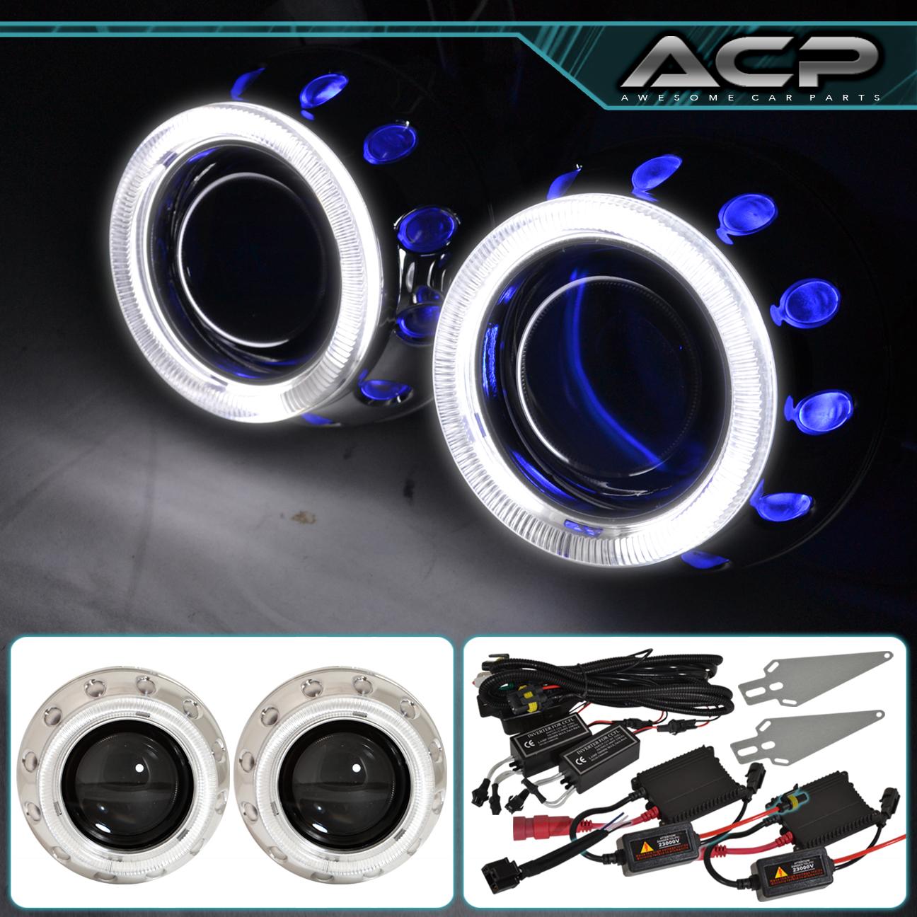 2x Universal Retrofit Projector Lens Headlights 2 5 U0026quot  H1