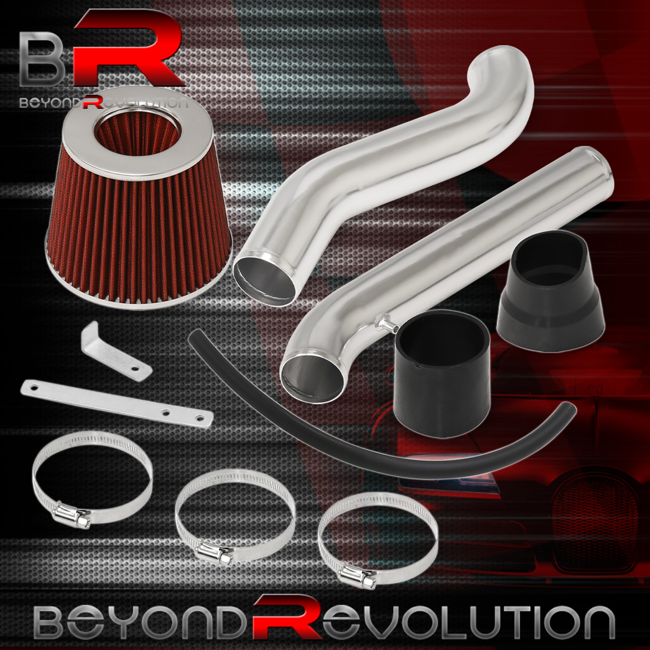 """Filter For 92-95 Civic//93-97 Del Sol All Models 2.75/"""" JDM RED Cold Air Intake"""