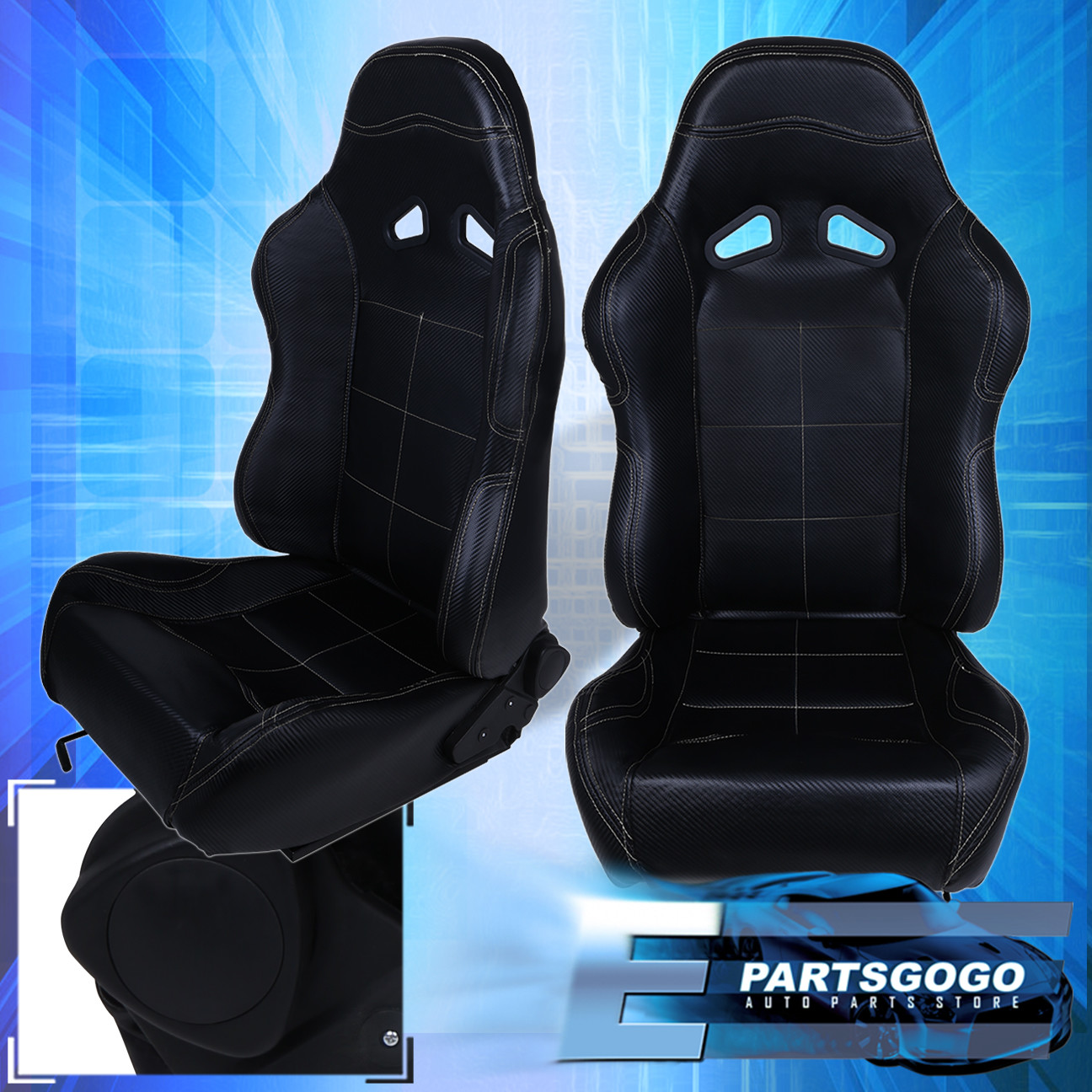 For Acura Honda Pvc Leather Bucket Racing Seat Pair Fully