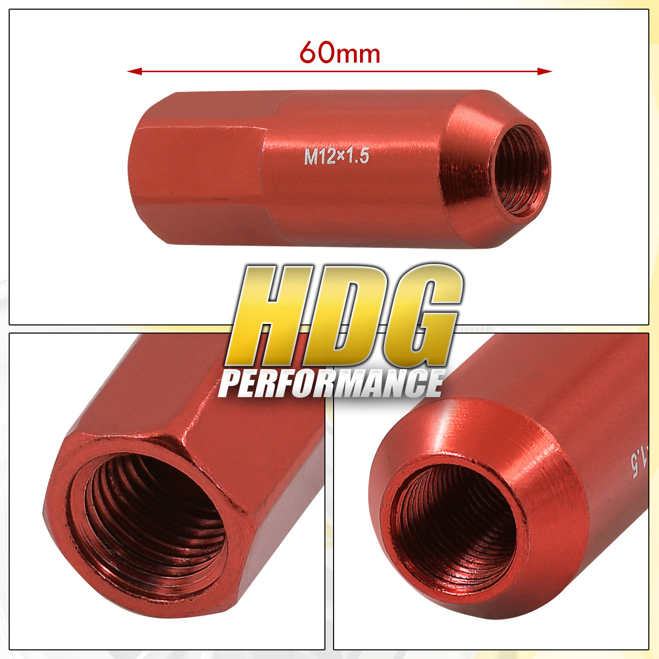 For Honda Acura 60Mm 20 Pieces M12 X 1.50 Red Extended