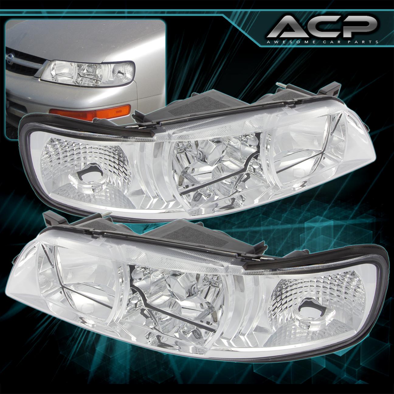 For 95 96 97 98 99 Nissan Maxima Clear Chrome Headlight Headlamps R34 Style