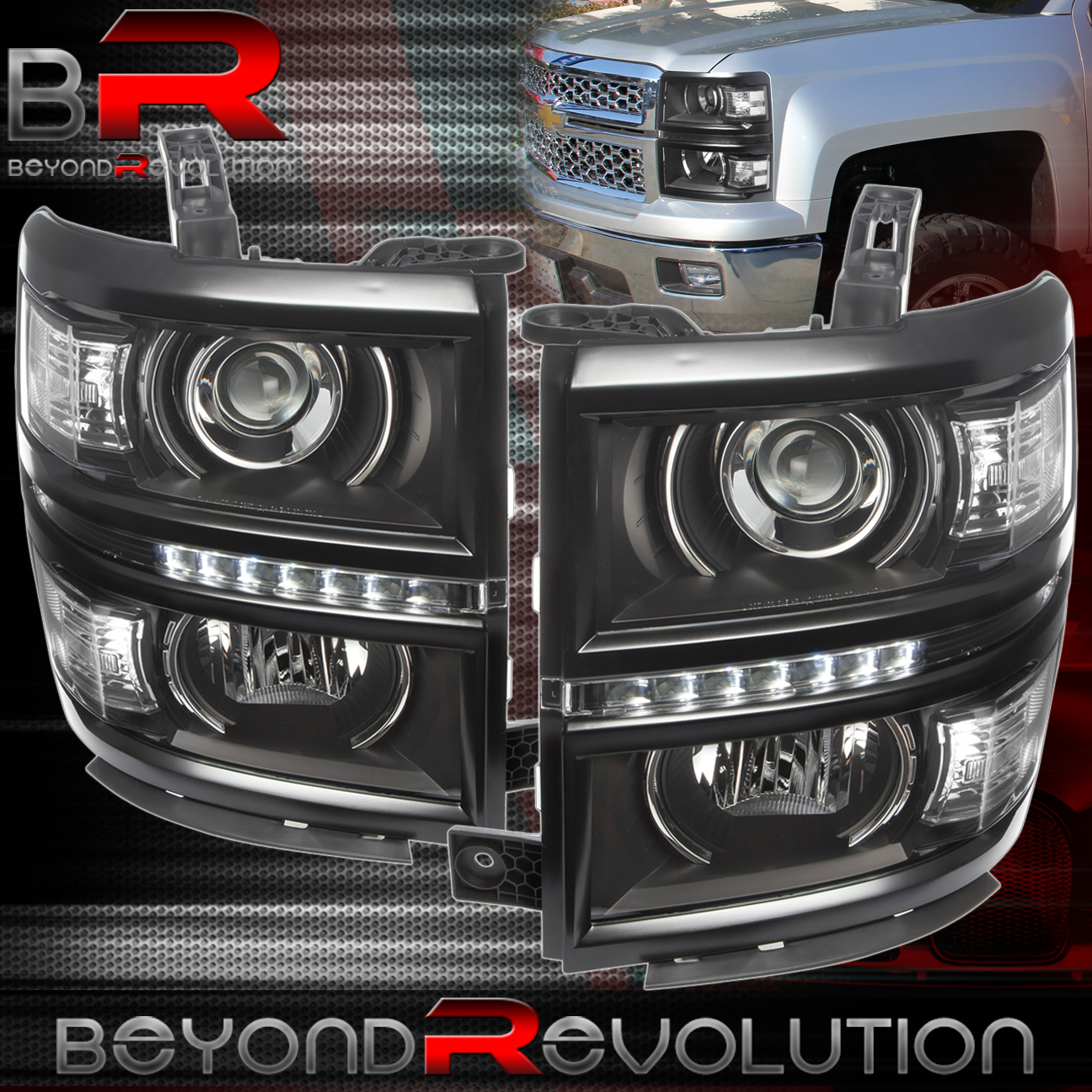 2014 2015 Chevy Silverado 1500 Black Housing Projector Led Drl Strip Fog Lights Headlights