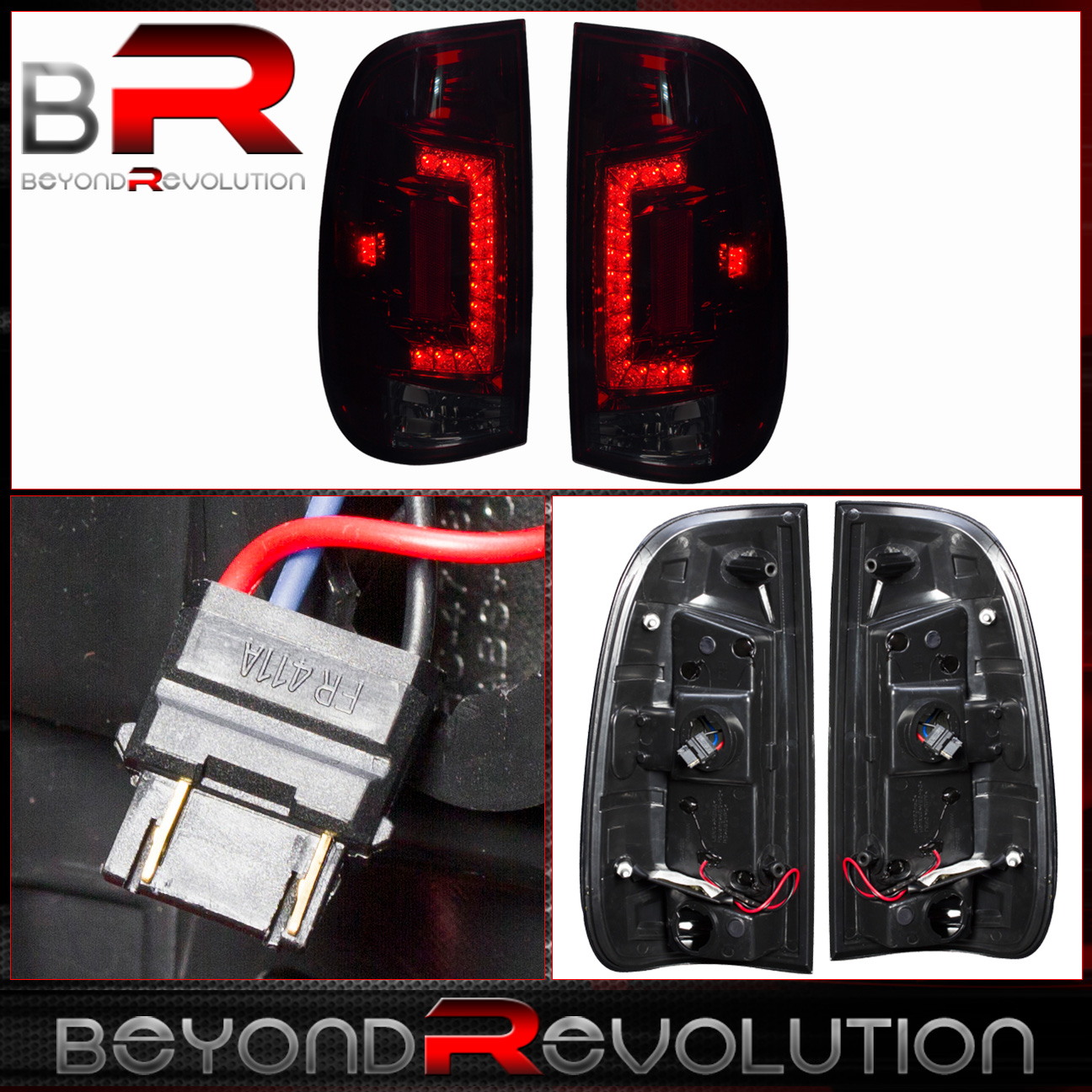 97 03 ford f350 super duty led red smoked tail lights rear. Black Bedroom Furniture Sets. Home Design Ideas