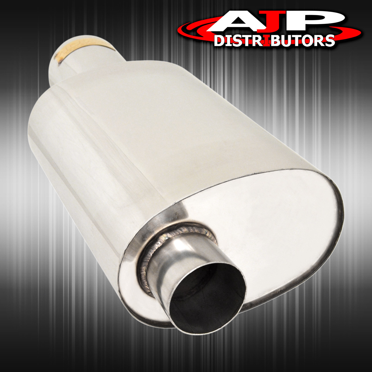 """3 7//8/"""" UNIVERSAL STAINLESS STEEL WITH SILVER CARBON EXHAUST BOLT ON MUFFLER TIP"""