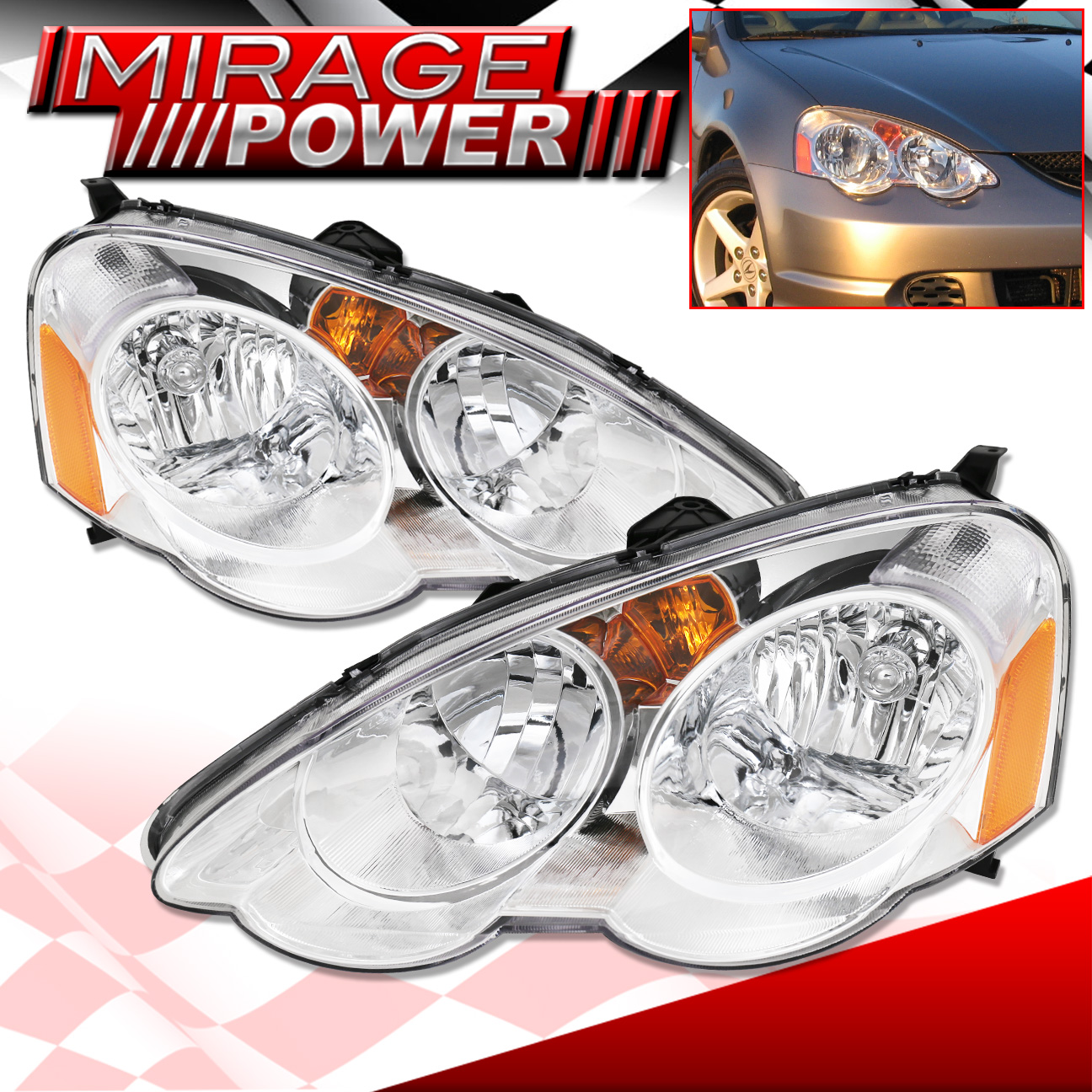 For 2002-2004 Acura Rsx Type S Chrome Housing Amber Signal