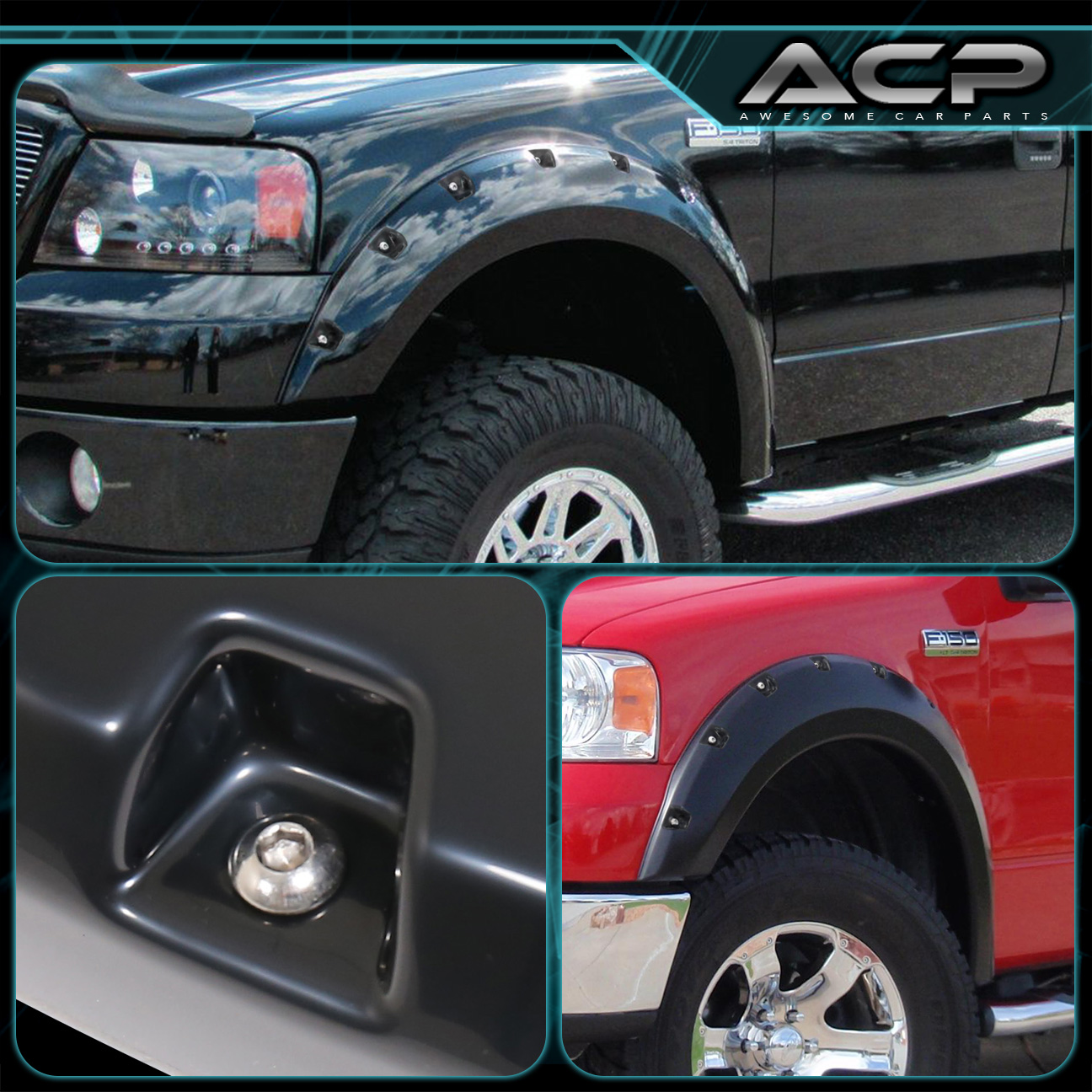 Ford F  Paintable Abs Black Bolton Wide Body Fender Trim Off Road