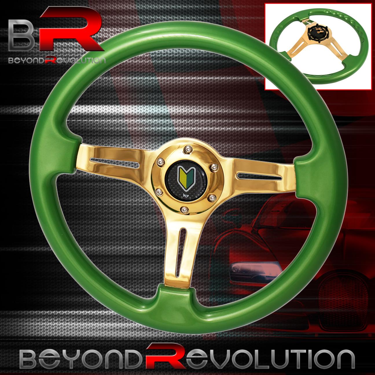 Universal 350MM 6 Bolt Hole Heavy Duty Light Weight Steering Wheel Sky Blue Trim Neo Chrome Center Streak Design Godsnow JDM Horn
