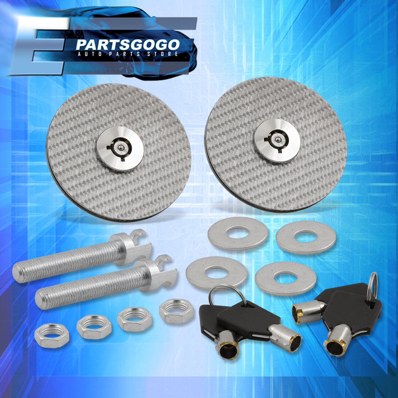Fit Durango Car Racing Mount Latch Hood Pin Locking Kit Key Real Carbon Fiber